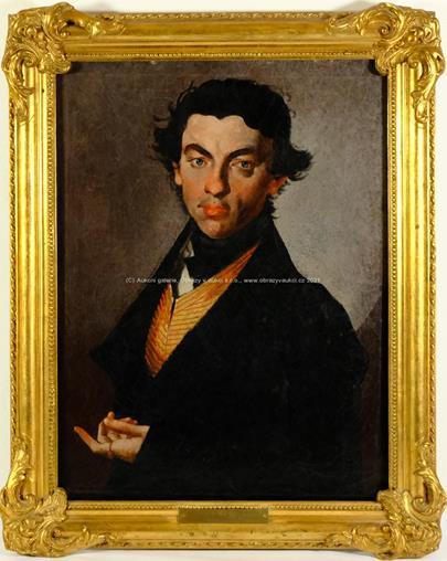 Na rámu štítek Barbara Krafft nata Steiner - Portrét šlechtice ve zlatočervené vestě