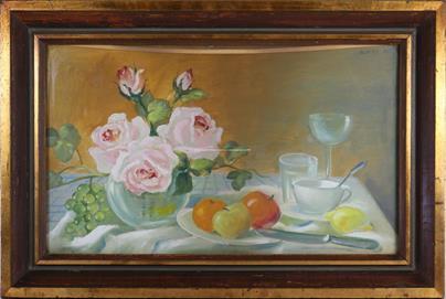 Hudeček - Zátiší s růžemi a ovocem