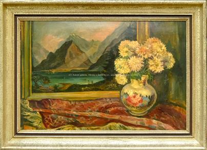 signováno nečitelně - Zátiší s květinou a obrazem