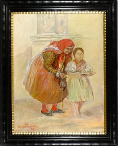 monogramováno A.R. - Stařenka s děvčetem