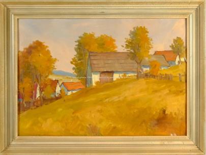 Signováno nečitelně - Podzim na vesnici