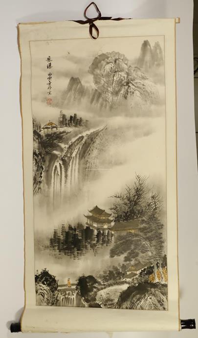 Čínský umělec - Krajina v horách - svitek