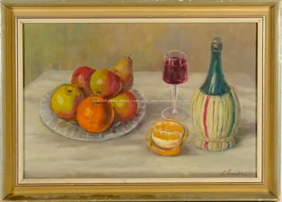 signováno nečitelně - Zátiší s ovocem a vínem