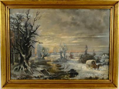 středoevropský malíř 1. pol. 20. stol. - Povoz v zimní krajině