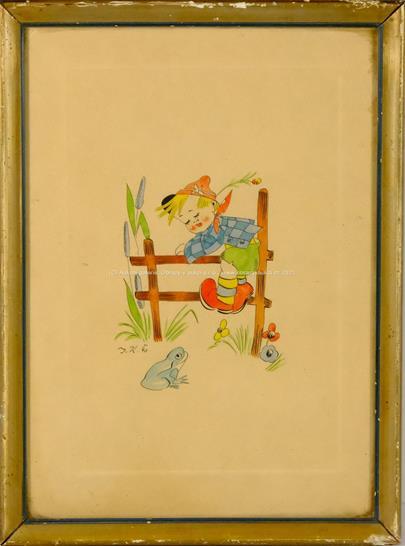 monogramováno JK - Chlapeček s žabkou