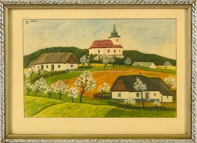 Josef Lada - Vesnička s kostelem