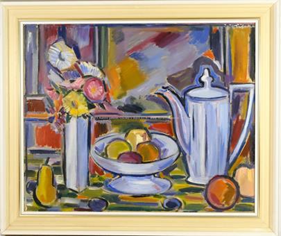 Jindřich Otipka - Zátiší s ovocem, květinou a konvicí