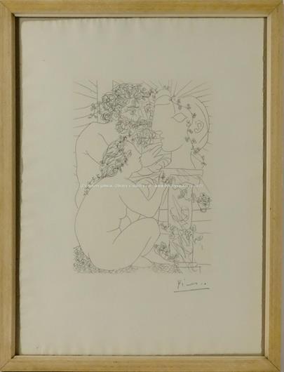 Pablo Picasso - Sculpteur, módele accroupi et tete sculptée