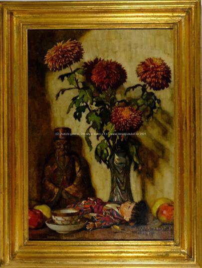 Josef Balcařík - Zátiší s květinou, šálkem a orientálními předměty