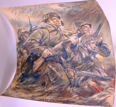 Jan Mareš, Jaroslav Sihoř - Konvolut 4 kreseb s vojenskou tematikou