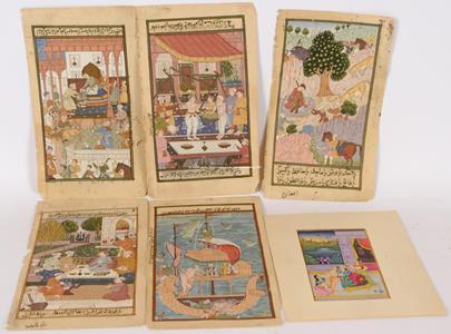 přelom 18. a 19. stol. - Konvolut 5 perských knižních miniatur