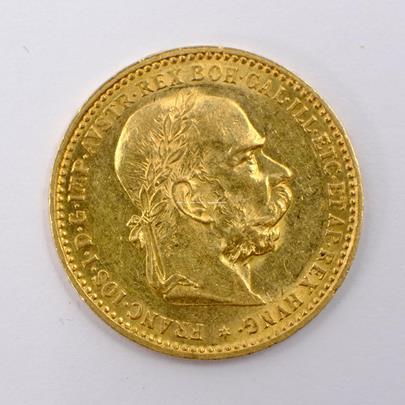 .. - Rakousko Uhersko zlatá 10 Koruna 1897 rakouská. Zlato 900/1000, hrubá hmotnost mince 3,387g