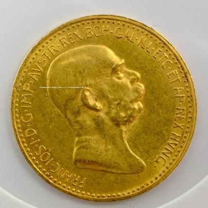 .. - Rakousko Uhersko zlatá 10 Koruna 1909 rakouská. Zlato 900/1000, hrubá hmotnost mince 3,387g