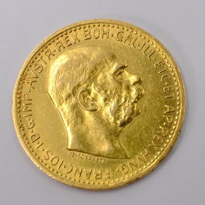 .. - Rakousko Uhersko zlatá 10 Koruna 1910 rakouská. Zlato 900/1000, hrubá hmotnost mince 3,387g
