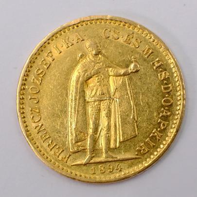 .. - Rakousko Uhersko zlatá 10 Koruna 1894 K.B.  uherská. Zlato 900/1000, hrubá hmotnost mince 3,387g,