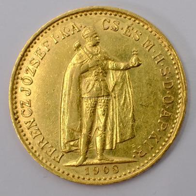 .. - Rakousko Uhersko zlatá 10 Koruna 1908 K.B. uherská. Zlato 900/1000, hrubá hmotnost mince 3,387g