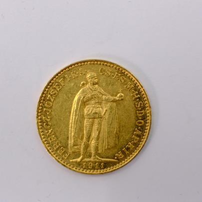 .. - Rakousko Uhersko zlatá 10 Koruna 1911 K.B. uherská. Zlato 900/1000, hrubá hmotnost mince 3,387g