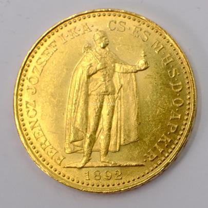 .. - Rakousko Uhersko zlatá 20 Koruna 1892 K.B. uherská. Zlato 900/1000, hrubá hmotnost mince 6,78g