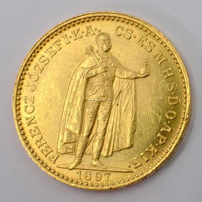 .. - Rakousko Uhersko zlatá 20 Koruna 1897 uherská. Zlato 900/1000, hrubá hmotnost mince 6,78g