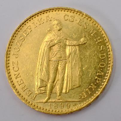 .. - Rakousko Uhersko zlatá 20 Koruna 1899 uherská. Zlato 900/1000, hrubá hmotnost mince 6,78g