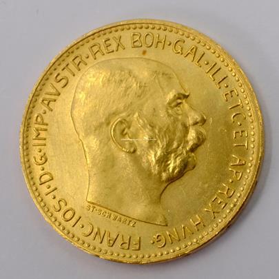 .. - Rakousko Uhersko zlatá 20 Koruna 1915 rakouská. Zlato 900/1000, hrubá hmotnost mince 6,78 g