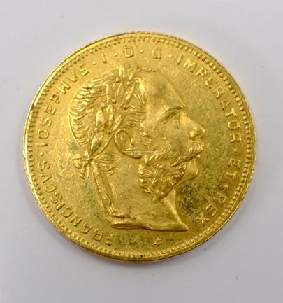 .. - Rakousko Uhersko zlatý 8 zlatník/20frank 1881 rakouský.  Zlato 900/1000, hrubá hmotnost mince 6,452g