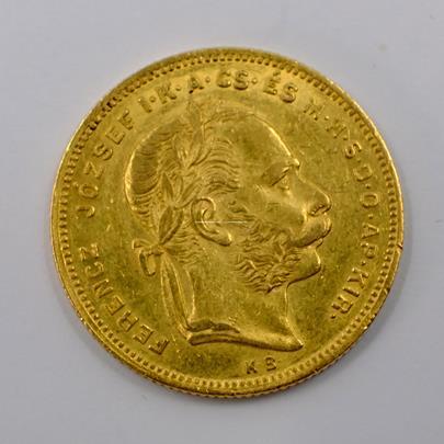 .. - Rakousko Uhersko zlatý 8 zlatník/20frank 1875 uherský. Zlato 900/1000, hrubá hmotnost mince 6,452g