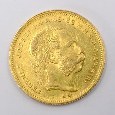 .. - Rakousko Uhersko zlatý 8 zlatník/20frank 1878 uherský. Zlato 900/1000, hrubá hmotnost mince 6,452g