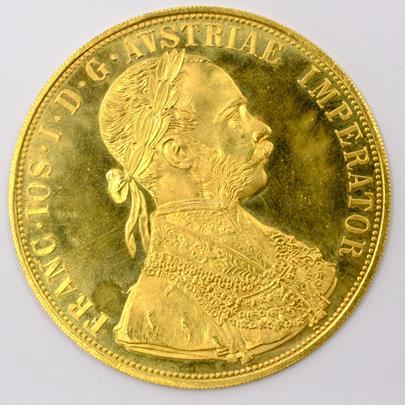 .. - Rakousko Uhersko zlatý 4 dukát 1915 pokračující ražba. Zlato 986/1000, hrubá hmotnost mince 13,964g