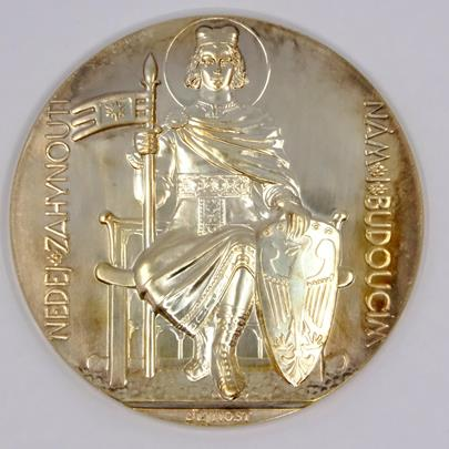 .. - Medaile Dokončení stavby chrámu svatého Víta 1929 / 2017 stříbrná medaile. Stříbro 925/1000 hrubá hmotnost 122,09 g