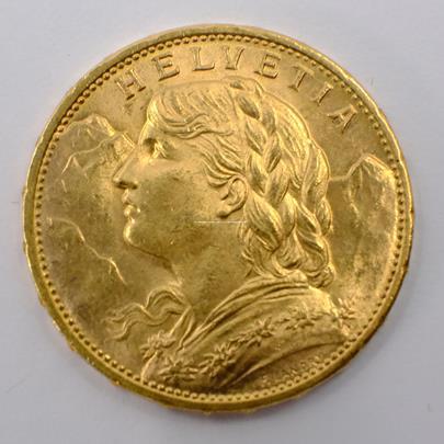 .. - Švýcarsko zlatý 20 frank VRENELI 1915. Zlato 900/1000, hrubá hmotnost 6,5g