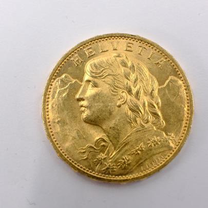 .. - Švýcarsko zlatý 20 frank VRENELI 1925. Zlato 900/1000, hrubá hmotnost 6,5g