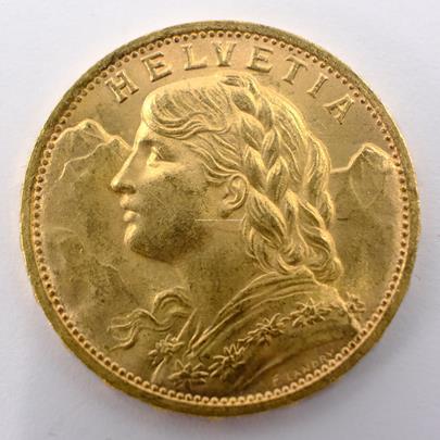 .. - Švýcarsko zlatý 20 frank VRENELI 1927. Zlato 900/1000, hrubá hmotnost 6,5g