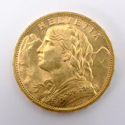 .. - Švýcarsko zlatý 20 frank VRENELI 1930. Zlato 900/1000, hrubá hmotnost 6,5g