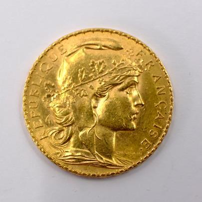 .. - Francie zlatý 20 frank ROOSTER 1907. Zlato 900/1000, hrubá hmotnost 6,44g