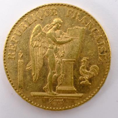 .. - Francie zlatý 20 frank Anděl štěstí 1896. Zlato 900/1000, hrubá hmotnost 6,44g