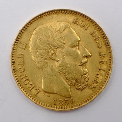 .. - Belgie zlatý 20 frank Leopold II. 1869. Zlato 900/1000, hrubá hmotnost 6,45g