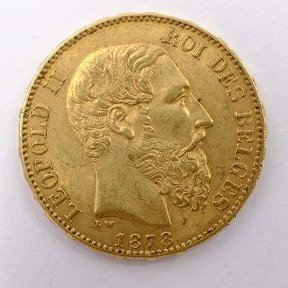 .. - Belgie zlatý 20 frank Leopold II. 1878. Zlato 900/1000, hrubá hmotnost 6,45g