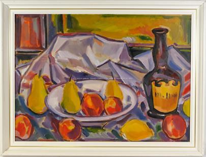 Jindřich Otipka - Zátiší s ovocem a lahví
