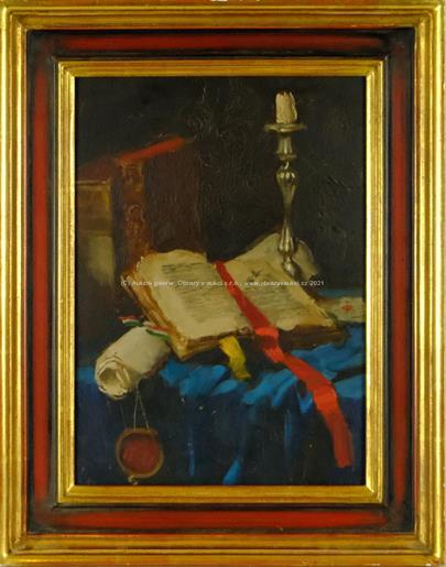 Asztalos Gyula - Zátiší s knihou, rukopisem a svícnem