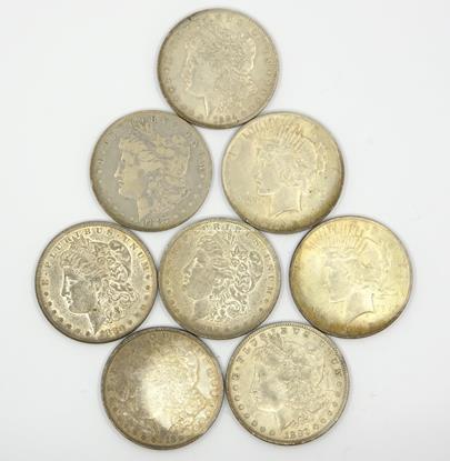 .. - Konvolut 8 amerických dolarů-Morgan dollar. Stříbro 900/1000, hrubá hmotnost mincí 213.30g