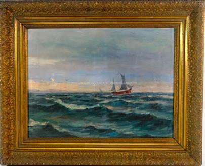 signováno nečitelně - Plachetnice na moři