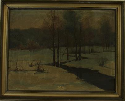 V. Novák - Zimní krajina se stromy a potokem