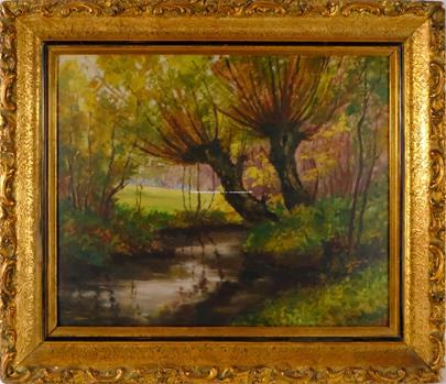 Alois Kalvoda - Podzimní krajina s potokem