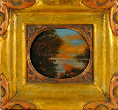 středoevropský malíř konce 19. stol. - Večerní rybaření